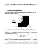 Lecture 8 Notes Macroscopic Conductivity of Composites