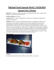 Asian Cusine Journal Week 3