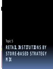Retail Institutions By Store Based Strategy Mix