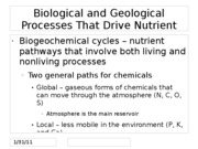 Biological and Geological Processes That Drive Nutrient Cycling