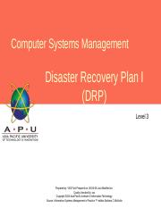 L10 Disaster Recovery Plan I