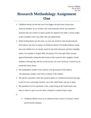 Research Methodology Assignment One