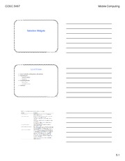 Selective Widgets Lecture Note For COSC 3VP7