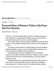Fractured State of Pakistani Taliban Calls Peace Deal Into Question - NYTimes.com