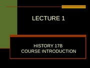 LECTURE 1, COURSE INTRODUCTION