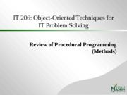 Review of Procedural Programming - Methods