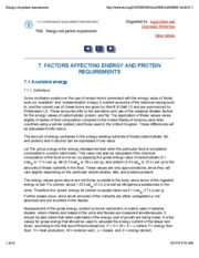 FAO Energy and Protein