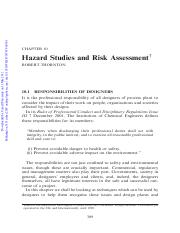 ChE 4 chemists_Chapt 10_hazard studies and risk assessment
