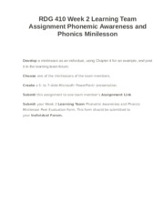 RDG 410 Week 2 Learning Team Assignment Phonemic Awareness and Phonics Minilesson