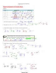 Negative Exponents & Variable Bases Notes