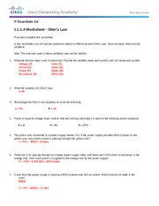 1.1.1.4 Worksheet Solution - Ohms Law