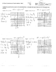 Piecewise graphing Answer Worksheet - Date: 1.5 Parent Functions and