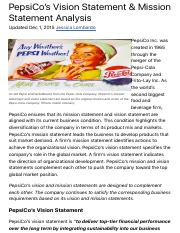 PepsiCo's Vision Statement & Mission Statement Analysis - Panmore Institute.pdf