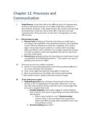 Chapter 12 outline- Processes and Communication
