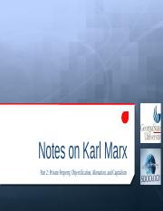 Notes on Marx Part 2 Fall 2015