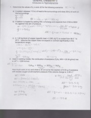 Introduction to Thermodynamics Worksheet CHM 104