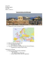 Geog 152: Cities of Europe - Week 1, Lecture 1.docx