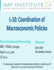 L10 - Coordination of Macroeconomic Policies