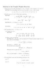 Complex Numbers Review Solution