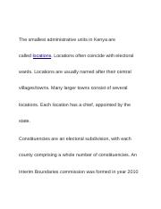 The smallest administrative units in Kenya are called