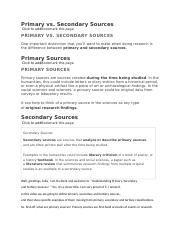 Week 2 info chapter 2 Primary vs secondary sources
