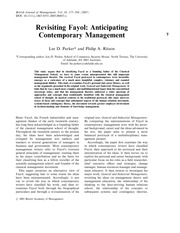 Revisiting Fayol - Anticipating Contemporary Management