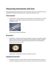 Measuring Instruments and Uses