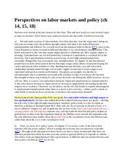Perspectives on labor markets and policy ch 14 15 18.docx