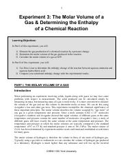 Experiment 3 - Molar volume of Gas  Enthalpy