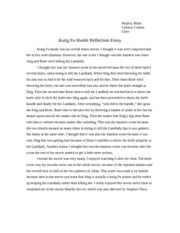 Kung Fu hustle reflection essay