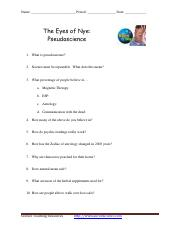 Eyes of Nye - Pseudoscience worksheet.pdf - Name Period Date The ...