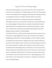 3 Pages George Orwellu0027s Politics And The English Language