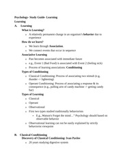 Psychology- Study Guide- Learning