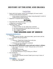 HiSTORY OF THEATRE AND DRAMA