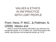 LGBT PRACTICE VALUES & ETHICS