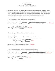 projectileProblemsWkst.pdf - Worksheet Projectile Problems ...
