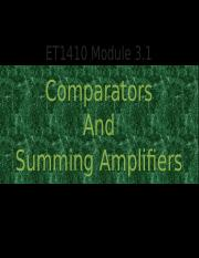 ET1410 Module 3.1 Comparators and Summing Amplifiers (1)