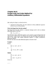 Runge-Kutta 2nd Order Method Notes