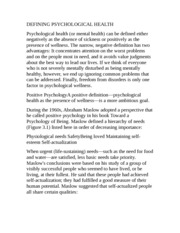 DEFINING PSYCHOLOGICAL HEALTH
