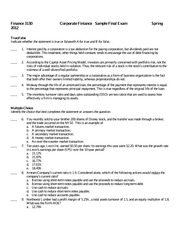 Sample Final Exam Finance 3130 Spring 2012