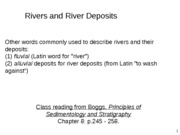 Lecture 6 - rivers and alluvial fans
