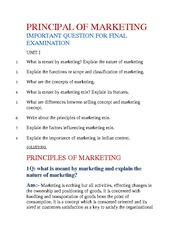 PRINCIPAL OF MARKETING IMPORTANT QUESTION FOR FINAL EXAMINATION (Unit 1)