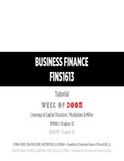 (2015-S2) - FINS1613 - Tutorial Slides - Week 10 - Leverage & Capital Structure (v3.69)