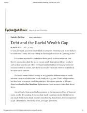 Paul Kiel, Debt and the Racial Wealth Gap - The New York Times