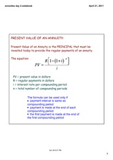 PRESENT VALUE OF AN ANNUITY-