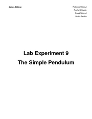 Lab 09 - The Simple Pendulum