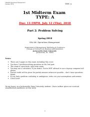 CBA390 Operations Mgmt_Summer II 2018_1st Midterm_Part 2.Problem Solving (1).doc
