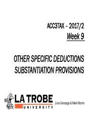 ACC3TAX S2 2017 Week 9 Other allowable deductions and substantiation.pdf