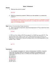 2B_Week_1_Worksheet - Week 1 Worksheet Calorimetry 5 The ...