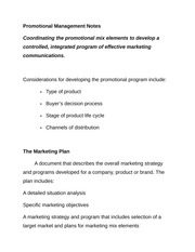 Promotional Management Notes